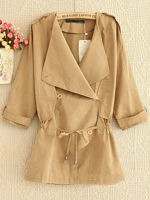 Lapel Drawstring Plain Trench Coat
