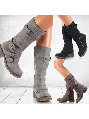 Plain Flat Round Toe Casual Date Outdoor Flat Boots фото