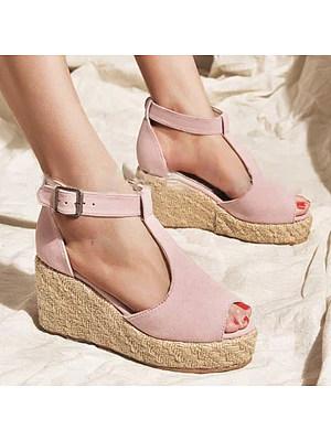 Plain Velvet Peep Toe Casual Date Wedge Sandals, 6491159