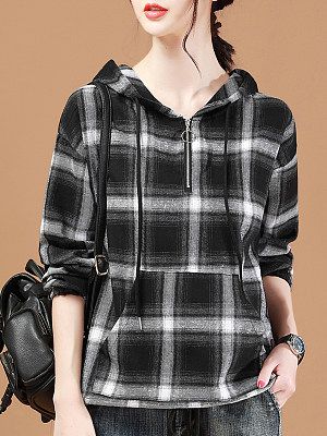 Hat Collar Patchwork Casual Plaid Long Sleeve Blouse, 9425761