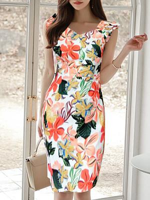 Asymmetric Neck  Floral Printed Bodycon Dress