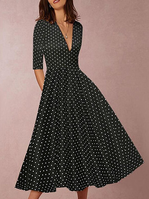 V-Neck Polka Dot Skater Dress, 8513434
