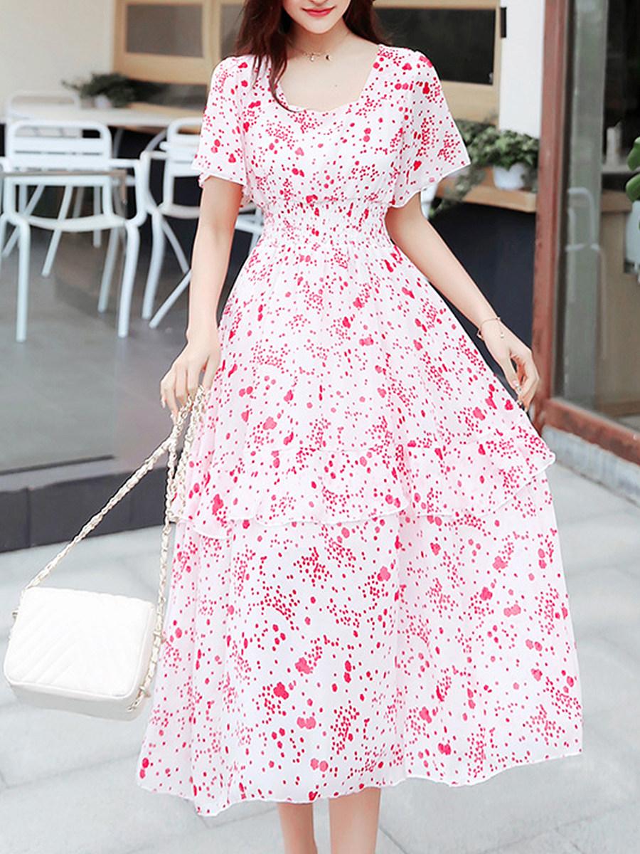 Round Neck Asymmetric Hem Flounce Floral Printed Maxi Dress
