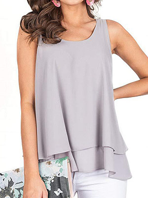 Round Neck Loose Fitting Plain Sleeveless T-Shirts, 6941320