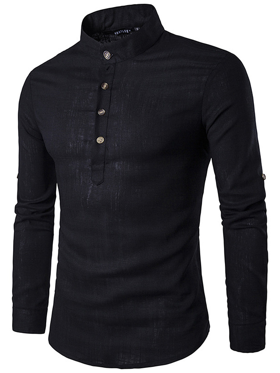 BerryLook Band Collar Plain Roll-Up Sleeve Men Shirts