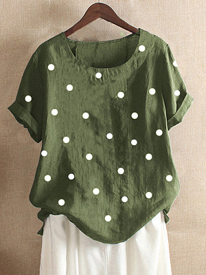 Round Neck Patchwork Casual Polka Dot Short Sleeve T-Shirt фото