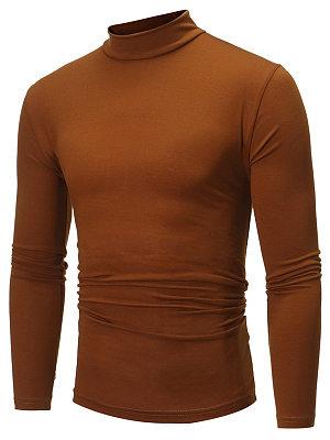 Basic High Neck Men Plain T-Shirt
