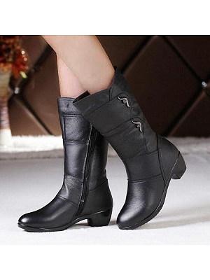 BERRYLOOK / Plain Round Toe Casual Outdoor  High Heels Boots