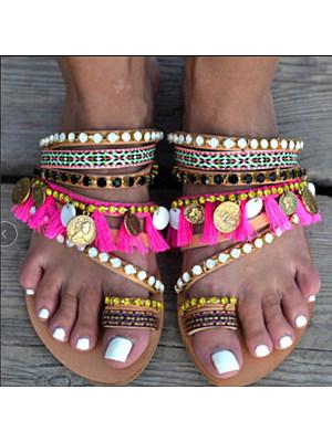 Bohemian Flat Peep Toe Casual Comfort Slippers