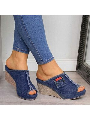Plain Peep Toe Casual Wedge Sandals фото