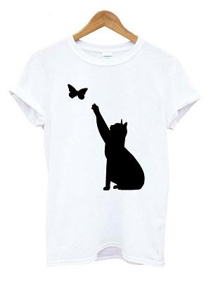 Round Neck Loose Fitting Animal Prints Short Sleeve T-Shirts, 6551401