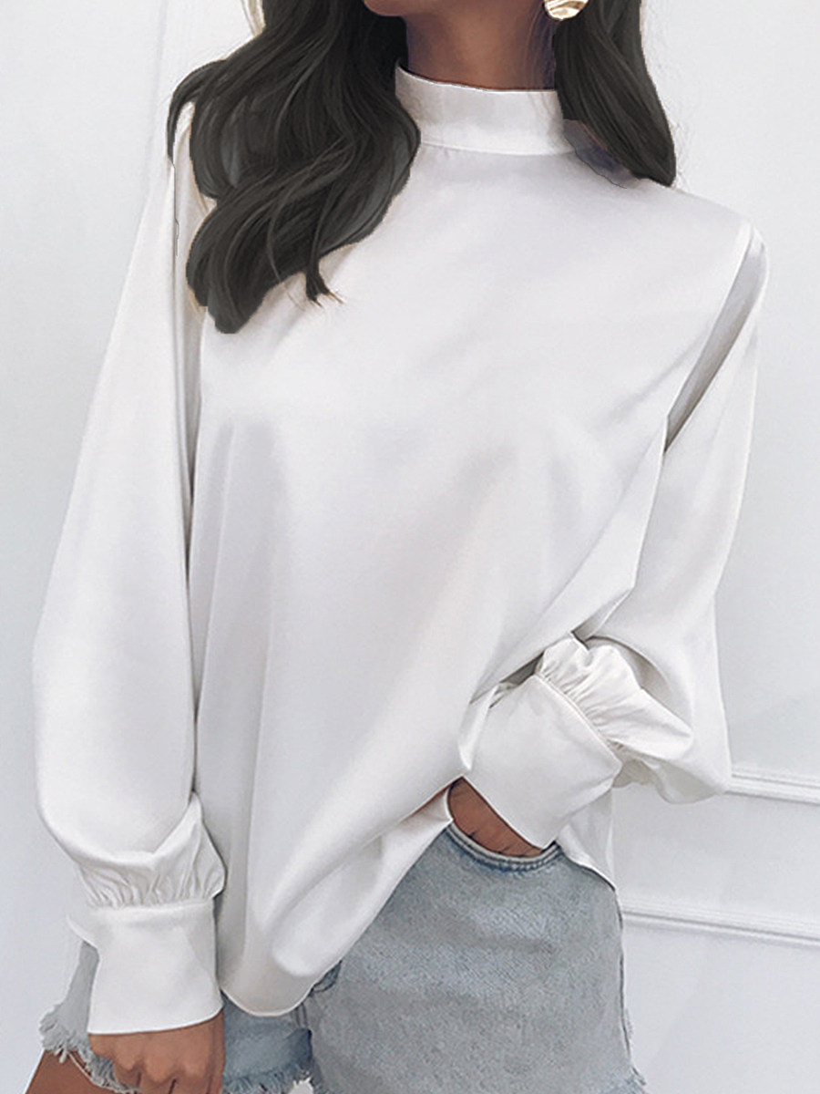 Band Collar Loose Fitting Plain Lantern Sleeve Blouses