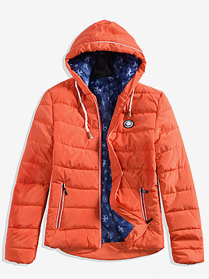 Hooded Contrast Trim Zips Quilted Men Padded Coat