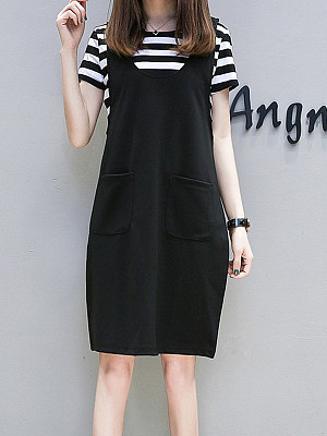 Round Neck Patch Pocket Two Way Striped Shift Dress, 4389409