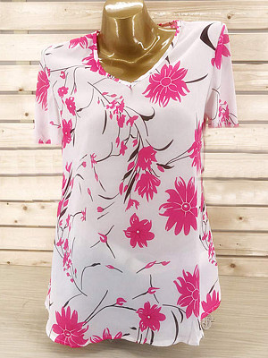 V Neck Floral Printed Short Sleeve T-Shirts, 7165126