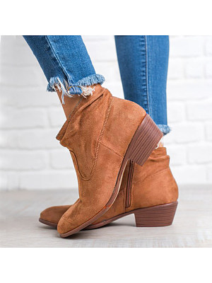 berrylook Plain Chunky Low Heeled Velvet Round Toe Date Outdoor Short Ankle Boots