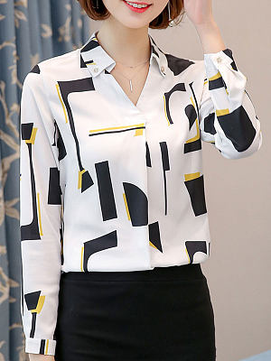 Autumn Spring Polyester Women Turn Down Collar Decorative Button Geometric Long Sleeve Blouses фото