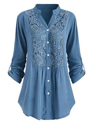 Tachibana Patchwork Elegant Lace Plain Long Sleeve Blouse фото