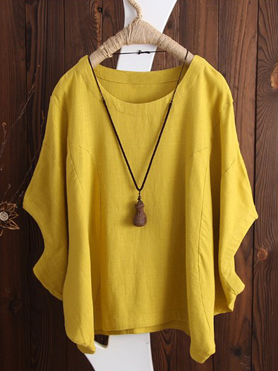 Spring Summer  Cotton  Women  Round Neck  Plain  Batwing Sleeve  Short Sleeve Short Sleeve T-Shirts