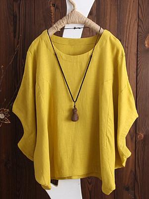 Spring Summer Cotton Women Round Neck Plain Batwing Sleeve Short Sleeve Short Sleeve T-Shirts фото
