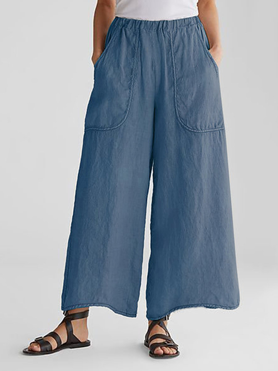 BerryLook Cotton And Linen Pockets Loose Wide Leg Casual Pants