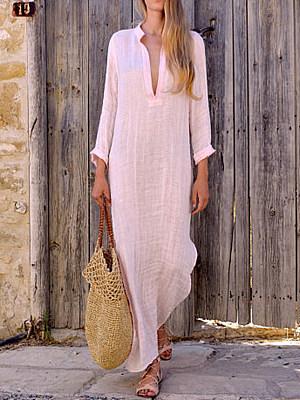 BERRYLOOK / Split Neck  Plain Maxi Dress