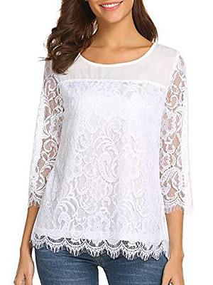 Купить Autumn Spring Summer Cotton Polyester Women Round Neck Decorative Lace Plain Three-Quarter Sleeve Blouses