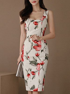 Spaghetti Strap Floral Printed Bodycon Dress, 7161138