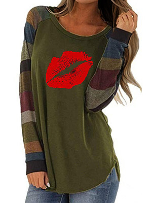 Round Neck Patchwork Casual Printed Long Sleeve T-Shirt, 9207505