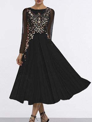 Round Neck Print Maxi Dress, 5299590