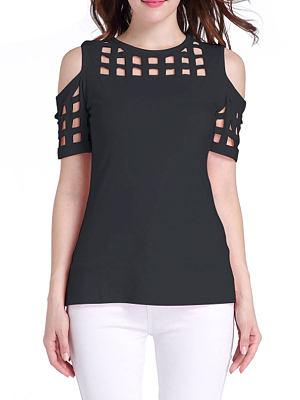 Summer  Polyester  Women  Open Shoulder  Hollow Out Short Sleeve T-Shirts