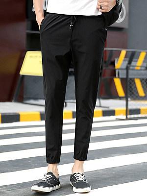 Drawstring Plain Men's Casual Slim-Leg Pants
