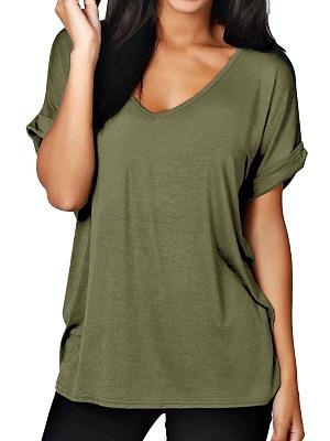 V Neck Plain Short Sleeve T-Shirts, 6456525