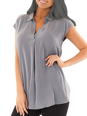 Turn Down Collar Loose Fitting Plain Blouses, 6909052