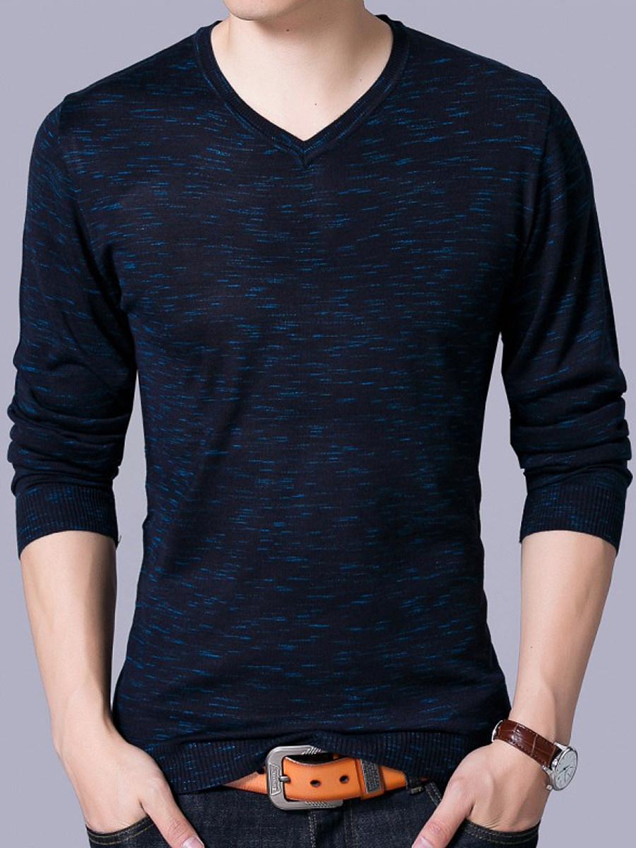 Men Basic V-Neck Long Sleeve Sweater