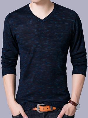 Men Basic V-Neck Long Sleeve Sweater фото