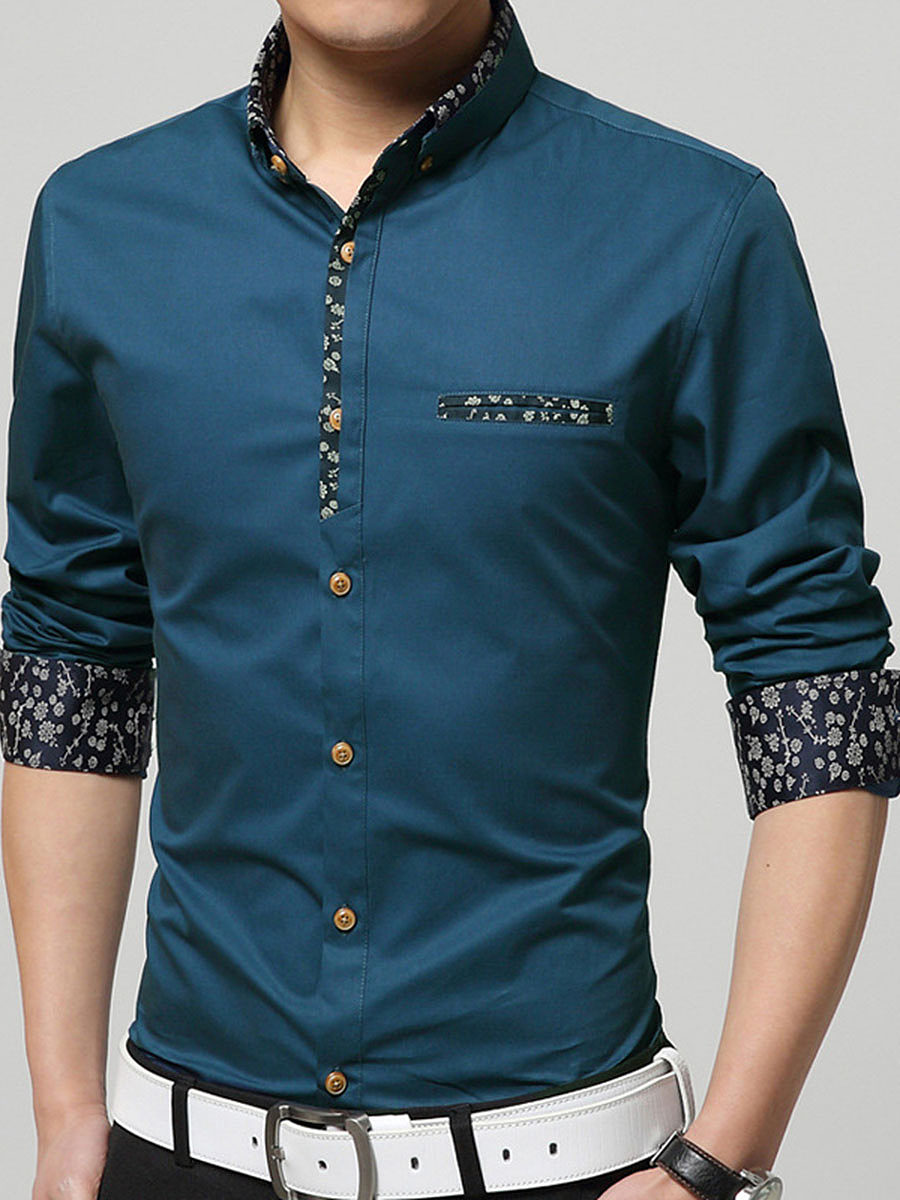 Polo Collar  Patchwork  Printed Men Shirt
