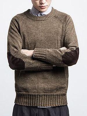 Crew Neck Plain Decorative Patch Men'S Sweater