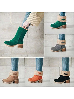 Save 50% on Plain Mid Heeled Velvet Round Toe Casual Mid Calf High Heels Boots