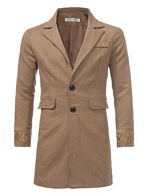 Lapel Embroidery Plain Flap Pocket Men Woolen Coat