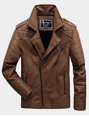 Lapel Plain Men Quilted Fleece Lined PU Leather Jacket