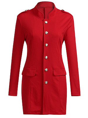 Band Collar Single Breasted Plain Trench Coat