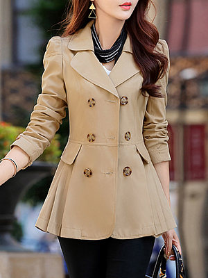 Notch Lapel Double Breasted Plain Trench Coat, 6230076