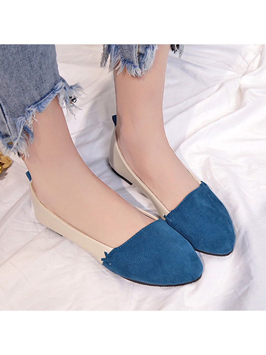Color Block  Flat  Velvet  Round Toe  Date Outdoor Comfort Flats