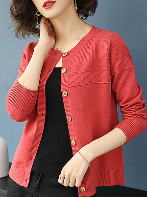 Round Neck Elegant Long Sleeve Knit Cardigan фото