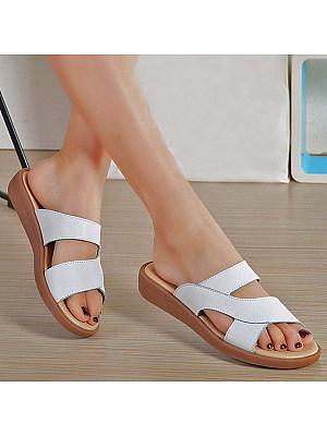 Plain Low Heeled Peep Toe Casual Slippers, 4772368