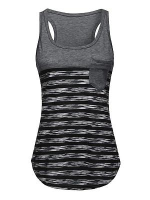 Round Neck Patch Pocket Racerback Striped Sleeveless T-Shirts фото
