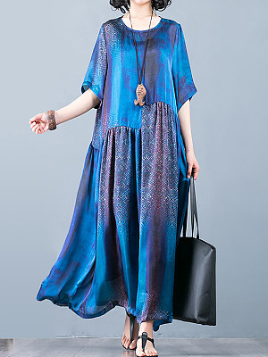 Casual Round Neck Abstract Print Sleeves Loose Dress Maxi Dress