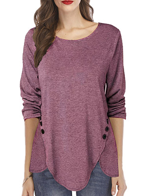 Round Neck Patchwork Casual Decorative Button Plain Long Sleeve T-Shirt, 9186198