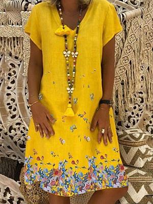 V Neck  Floral Printed Shift Dress